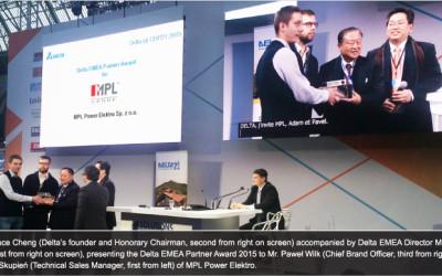 Nagroda partnera Delta EMEA 2015 dla MPL Power Elektro
