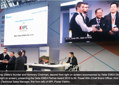 Delta EMEA Partner Award 2015 for MPL Power Elektro