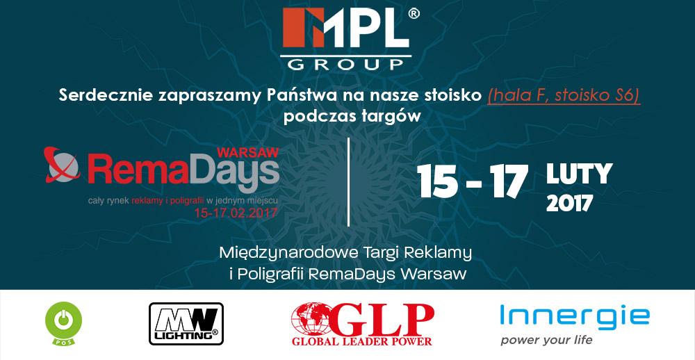 Zaproszenie naTargi RemaDays 15-17.02.2017 Warszawa